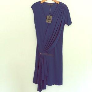 Blue short sleeve dress.